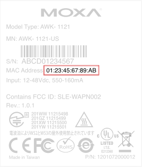 Where to find MAC address on silver label