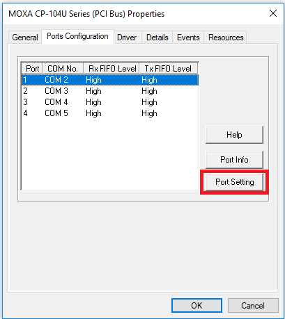 How do I change the default COM port setting for multiport serial