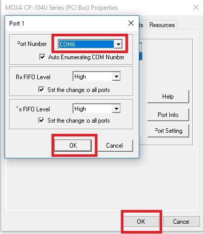 How do I change the default COM port setting for multiport